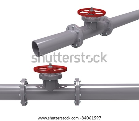 3d render of pipe with the valve on a white background