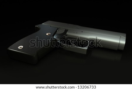 3D render of pistol on a black reflective surface