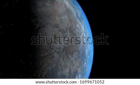 3D render of Planet Earth sunrise in space. Our beautiful globe waking up. 4K high quality realistic.