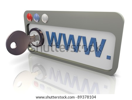 3d render of protected internet browser. Concept of safe and secure internet surfing