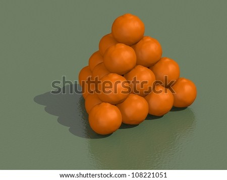 3d render of pyramid of oranges on a green background