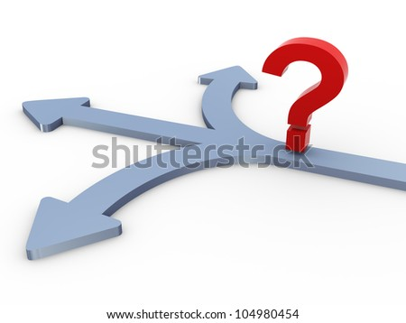 3d render of question mark at the junction of three different ways.