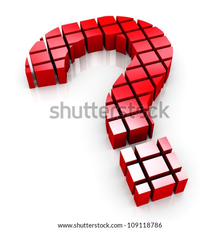 3d render of question mark symbol made of cubes blocks