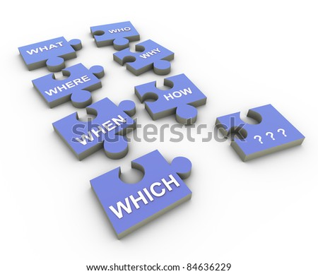 3d render of question words puzzle pieces