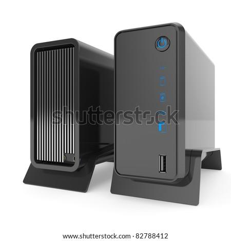 3d render of rack server data storage isolated on white background
