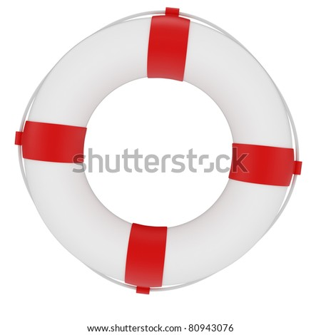 3d render of red and white life belt isolated on white background
