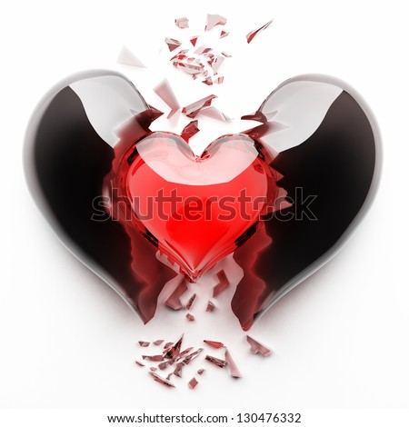 3d render of red broken heart isolated on white background High resolution