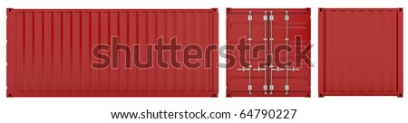 3d render of red cargo container sides on white