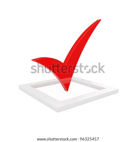 3d render of red check mark isolated on white