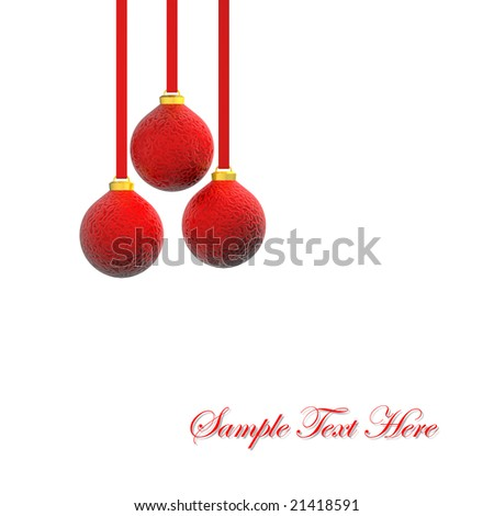 3D render of red christmas balls hanging on ribbons, isolated on white. Copy space. #21418591