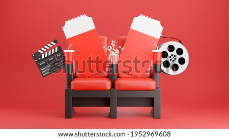 3d render of red cinema chair with popcorn,clapboard,reel