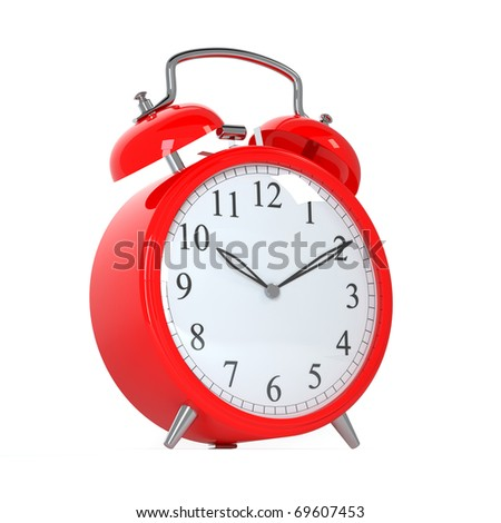 3d render of red clock on white background