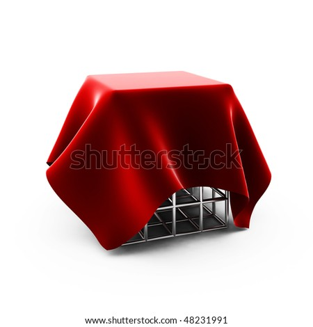 3d render of  red cloth on silver cage