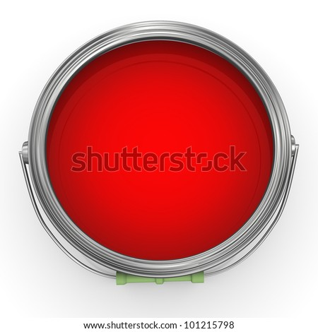 3d render of red color paint bucket