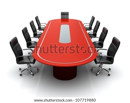 3D render of red conference table with black leather chairs on white background