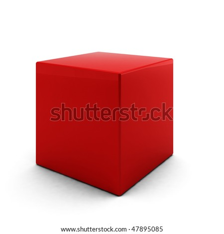 3d render of red cube on white background - stock photo