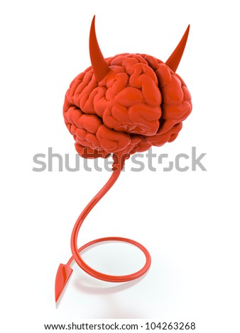 3D render of red devil brain on white background