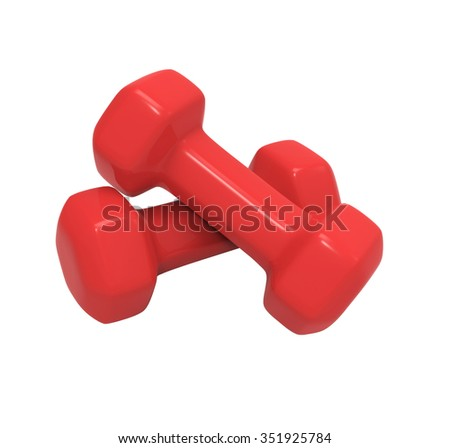 3d render of red dumbbell isolated on white background with clipping path