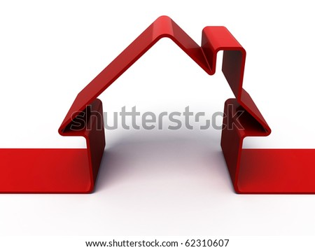 3d render of red house symbol isolated on white