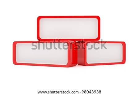 3d render of red message boxes on white background