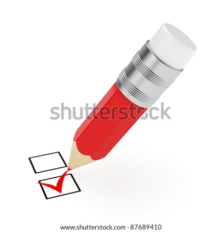 3d render of red pencil with checkmark isolated on white background