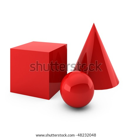 3d render of red primitives isolated on white