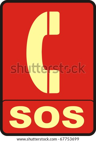 2d render of red SOS sign isolated on white