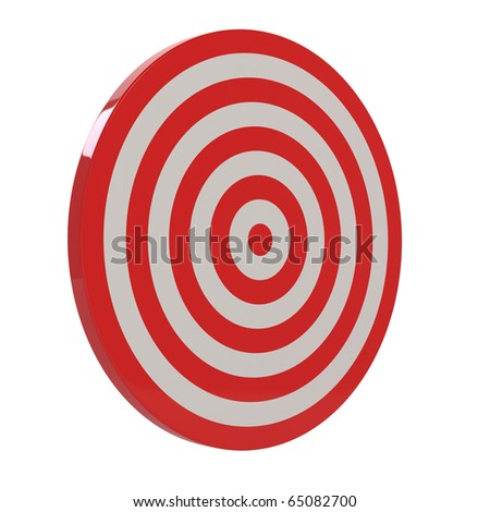 3d render of red target sample on white background