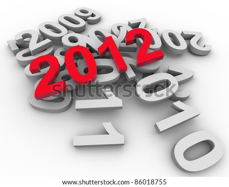 3d render of red text 2012 on top of previous years. Concept of happy new year.