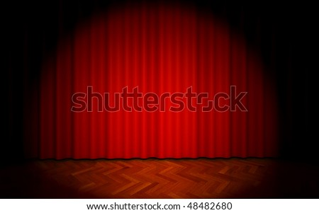 3D render of red theater curtain with spot lights