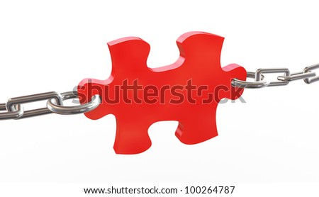 3d render of red tied puzzle piece