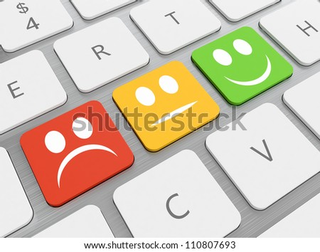 3D render of red yellow and green smiles on keyboard. - stock photo