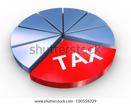3d render of reflective tax pie chart