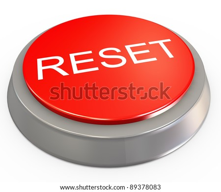 3d render of reset button on white background - stock photo