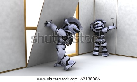 3D render of robot robot contractor building a drywall