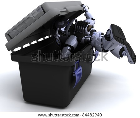 3D render of robot searching a toolbox
