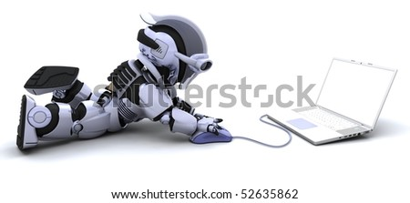 3D render of robot with a laptop and mouse
