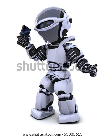 3d render of robot with smart phone