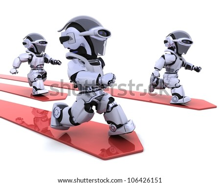 3D render of Robots leading the race