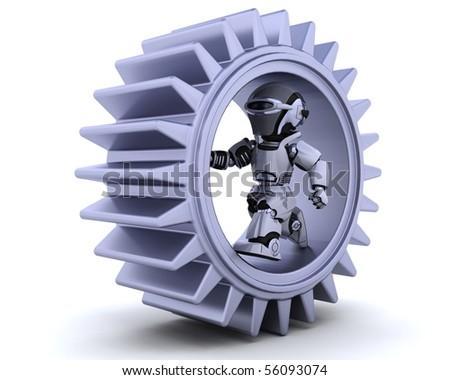 3d Render of robots with gear mechanism