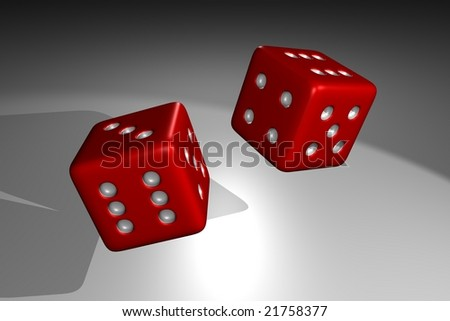 3D render of rolling red dice, with dramatic spotlight lighting #21758377