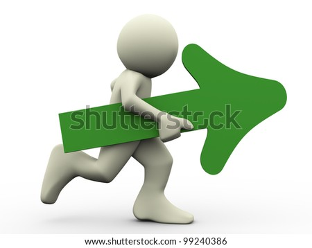 3d render of running man holding green arrow in his hand. 3d illustration of human character