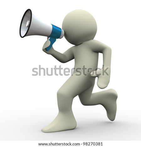 3d render of running man with megaphone. 3d illustration of human character.