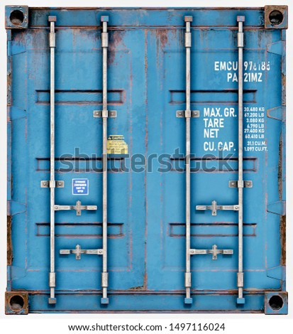 3D Render of Rusty Blue Shipping Container