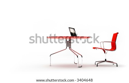 3d render of scene with chair, table and laptop