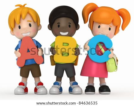 3D render of school kids holding ABC - stock photo