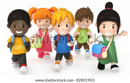 3D render of School Kids Running - stock photo