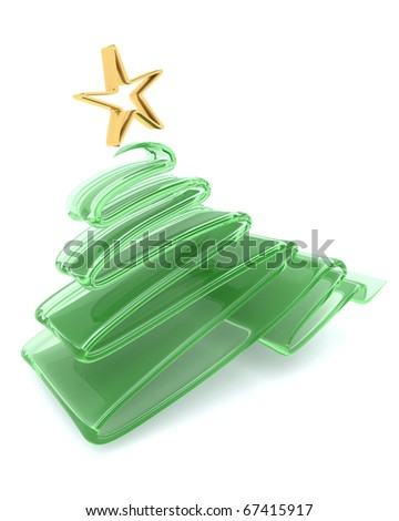 3D render of Scribble sketch Christmas tree concept