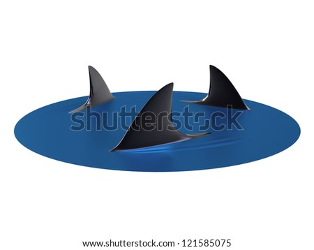 3d render of Sharks Circling