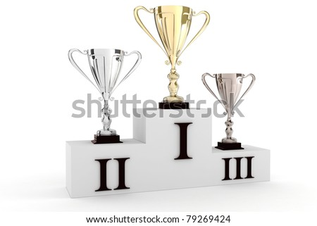 3d render of shiny trophy, on white